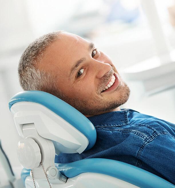 man in dental chair